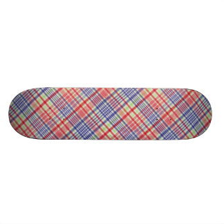 Red Blue Green And White Plaid Stripe Pattern Skate Boards