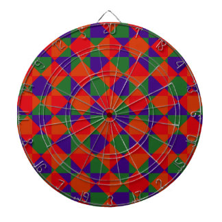 Red Blue Green Check Pattern Dartboard With Darts