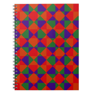 Red Blue Green Check Pattern Notebook