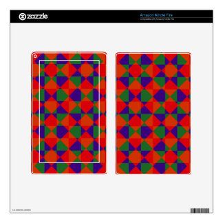 Red Blue Green Check Pattern Skins For Kindle Fire