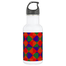 Red Blue Green Check Pattern Stainless Steel Water Bottle