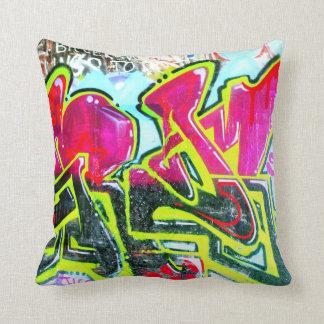 red/blue/green grafitti mural throw pillow