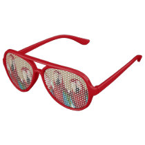 Red Blue Green Macaws (Parrots) Aviator Sunglasses