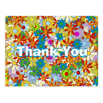 Red Blue Green Pink Purple Floral Thank You Postcard