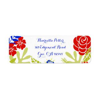 Red Blue Green Vintage Floral Pattern Label