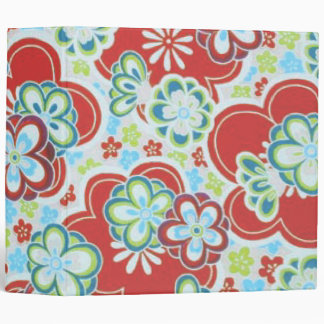 Red, Blue, Green & White Flowers Binder