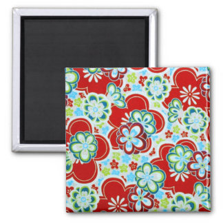 Red, Blue, Green & White Flowers Magnet