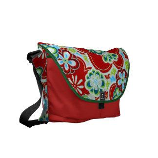 Red, Blue, Green & White Flowers Messenger Bag