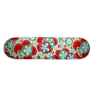 Red, Blue, Green & White Flowers Skateboard
