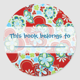 Red, Blue, Green & White Flowers Classic Round Sticker