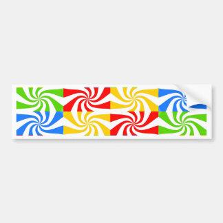 Red, Blue, Green, Yellow Candy Cane Design Car Bumper Sticker
