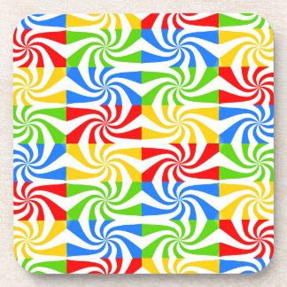 Red, Blue, Green, Yellow Candy Cane Design Coaster