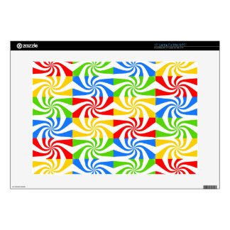 Red, Blue, Green, Yellow Candy Cane Design Laptop Decal