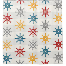 Red Blue Grey Nautical Wheel Shower Curtain