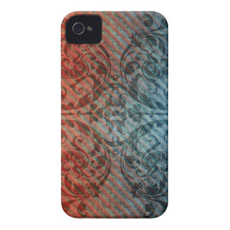 Red Blue Grunge Floral Diagonal Pattern iPhone4 Ca iPhone 4 Case