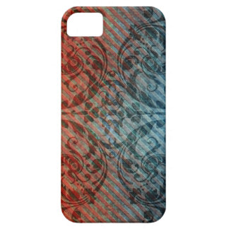 Red Blue Grunge Floral Diagonal Pattern iPhone4 Ca iPhone SE/5/5s Case