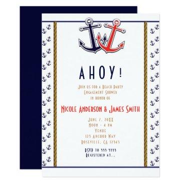 Beach Themed Red & Blue Heart Anchors Nautical Beach Engagement Card