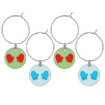 Red & Blue Holiday Mittens Wine Glass Charm