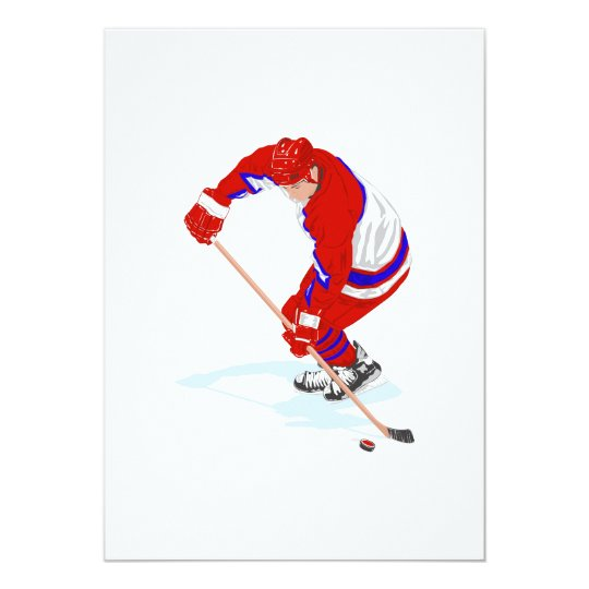Red Blue Ice Hockey Player Card