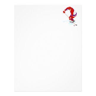 Red Blue Ice Hockey Player Customized Letterhead
