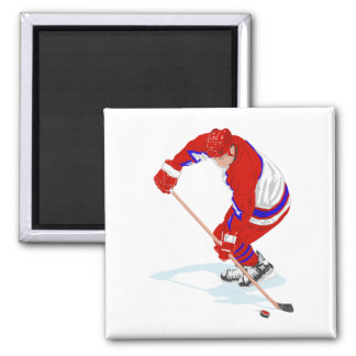 Red Blue Ice Hockey Player Magnet