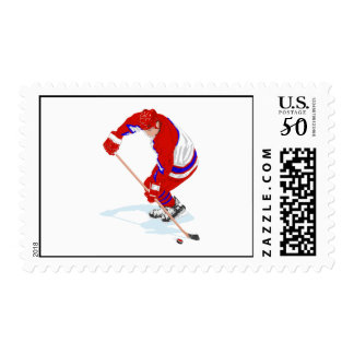 Red Blue Ice Hockey Player Postage