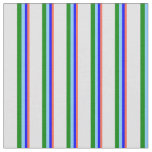[ Thumbnail: Red, Blue, Light Sky Blue, Green & Lavender Lines Fabric ]
