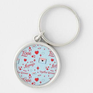 Red Blue Love Pattern Keychain