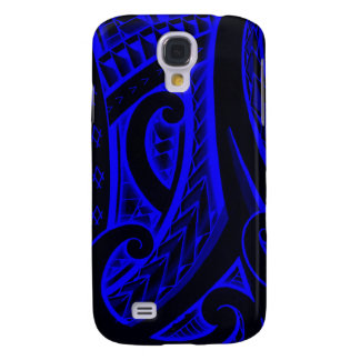 Red/Blue Maori style tribal tattoo design Samsung Galaxy S4 Case