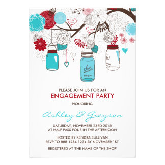 Red Blue Mason Jars Engagement Party Invitation