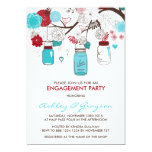 Red & Blue Mason Jars Engagement Party Invitation