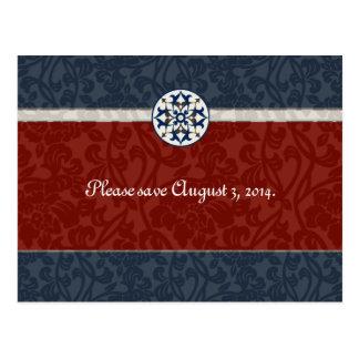 Red & Blue Medieval Brocade rsvp Postcard