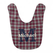 Red Blue Monogram Personalized Boy Bib