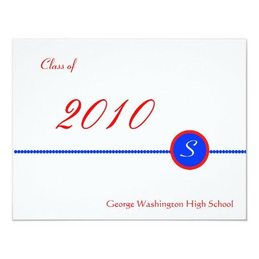 Red & Blue Monogram Photo Invitation