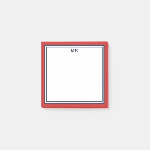 Red Blue Monogrammed Post-it Notes