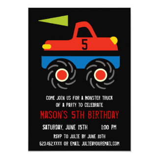 Red Blue Monster Truck Birthday Party Invitations