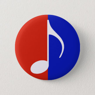 red & blue music note pinback button