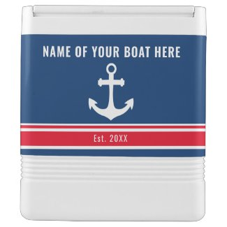 Red Blue Nautical Anchor Boat Name Igloo Cooler