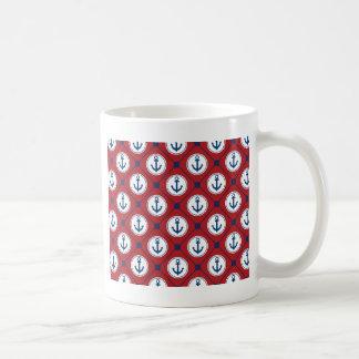 Red Blue Nautical Anchor Pattern Coffee Mug