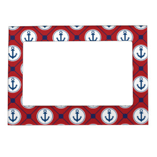 Red Blue Nautical Anchor Pattern Magnetic Photo Frame