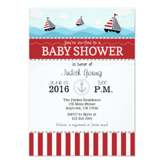 Red Blue Nautical Baby Shower Invitation