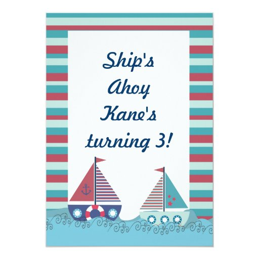 Red Blue Nautical Sailing Boat Birthday Invite