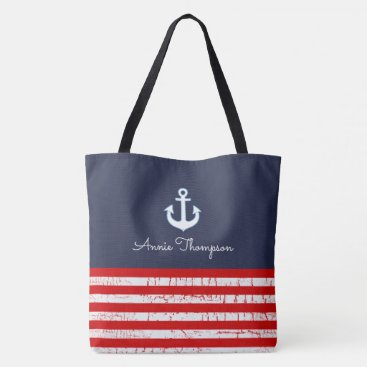 red & blue navy tote bag with name & anchors
