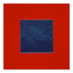 red, blue on grey poster