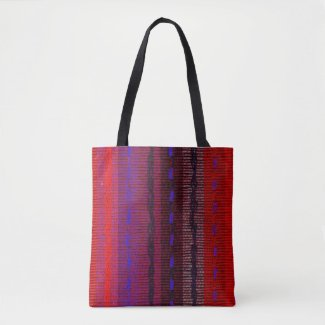 Red Blue Orange Rainbow Woven Look Tote Bag