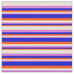 [ Thumbnail: Red, Blue, Orchid & Bisque Colored Stripes Fabric ]