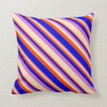 [ Thumbnail: Red, Blue, Orchid & Bisque Colored Stripes Pillow ]