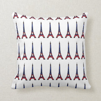 red&blue Paris Eiffel tower pattern Throw Pillow