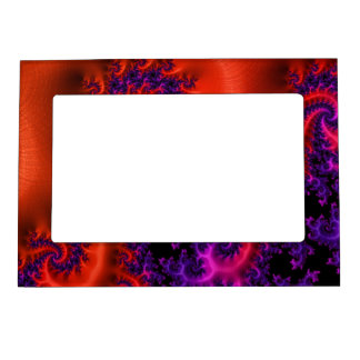 Red Blue Pink Fractal Art eg Magnetic Photo Frame