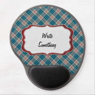 Red Blue Plaid Background Lable Gel Mouse Pad